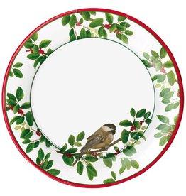 Caspari Christmas Paper Dinner Plates RD 8pk Winter Songbirds