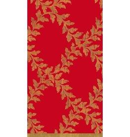Caspari Christmas Paper Guest Towel Napkins 15pk Ancanthus Red