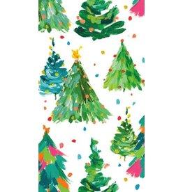 Caspari Christmas Paper Guest Towel Napkins 15pk Brushstroke Trees