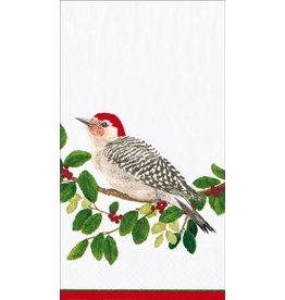 Caspari Christmas Paper Guest Towel Napkins 15pk Winter Songbirds