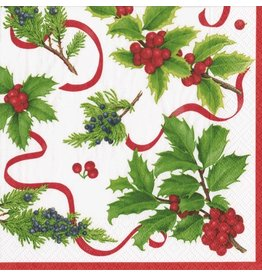 Caspari Christmas Paper Cocktail Napkins 20pk Xmas Trimmings