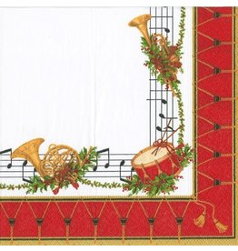 Caspari Christmas Paper Cocktail Napkins 20pk Musical Concert