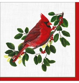 Caspari Christmas Paper Cocktail Napkins 20pk Winter Songbirds