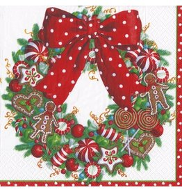 Caspari Christmas Paper Cocktail Napkins 20pk Candy Wreath
