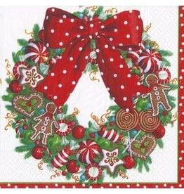 Caspari Christmas Paper Cocktail Napkins 20pk Candy Wreath