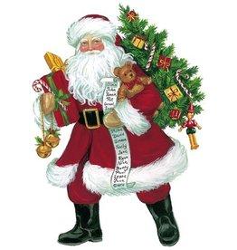 Caspari Christmas Gift Tags 4pk Lynn Haney Santa Ornament