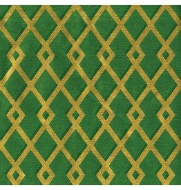 Caspari Christmas Gift Wrapping Paper Roll 8ft Trellis Green Gold