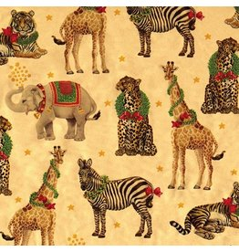 Caspari Christmas Wrapping Paper Roll 8ft Wild Christmas Gold Foil