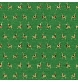 Caspari Christmas Wrapping Paper Roll 8ft Reindeer w Garland Foil