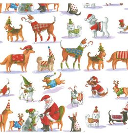 Caspari Christmas Gift Wrapping Paper Roll 8ft Waiting for Santa Dogs