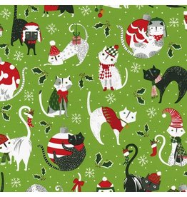 Caspari Christmas Gift Wrapping Paper Roll 8ft Yule Cats