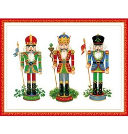 Caspari Boxed Christmas Cards 10pk Embossed Foil Nutcrackers