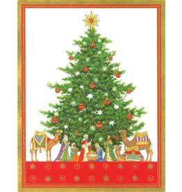 Caspari Caspari Boxed Christmas Cards 16pk Tabletop Nativity Tree