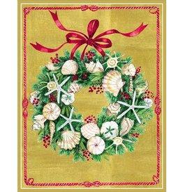 Caspari Caspari Boxed Christmas Cards 16pk Seashell Wreath