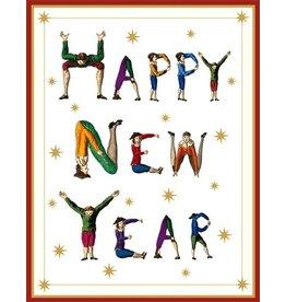 Caspari Boxed Christmas Cards 16pk New Year Hotch Potch