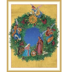 Caspari Boxed Christmas Cards 16pk Nativity Wreath