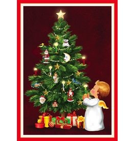 Caspari Boxed Christmas Cards Set of 16 Angel with Candle and Tree