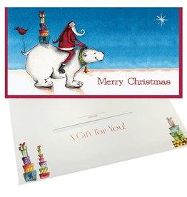 Caspari Single Christmas Gift Card Money Holder North Polar Bear Santa