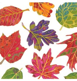 Caspari Fall Paper Cocktail Napkins 20ct Jeweled Autumn Leaves Ivory