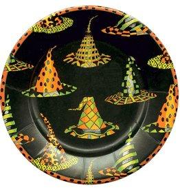 Caspari Halloween Paper Salad-Dessert Plates 8pk Witches Hats 8pk