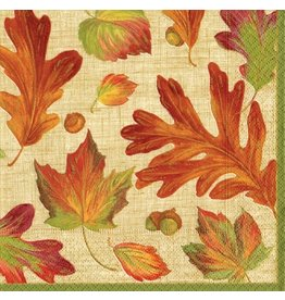 Caspari Fall Thanksgiving Paper Lunch Napkins 20pk Linen Leaves
