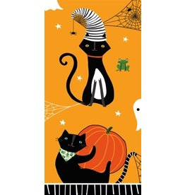 Caspari Halloween Paper Facial Tissues Scaredy Cat Orange Hankies 10pk