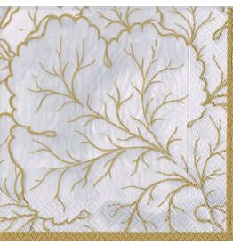 Caspari Paper Cocktail Napkins 20ct Gilded Majolica Ivory Gold
