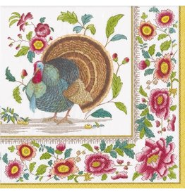 Caspari Fall Thanksgiving Paper Lunch Napkins 20pk Turkey Setting