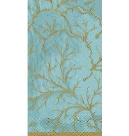 Caspari Paper Guest Napkins 15pk Gilded Majolica Aqua