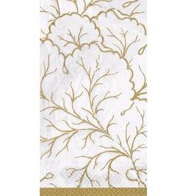 Caspari Paper Guest Napkins 15pk Gilded Majolica Ivory