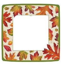 Caspari Fall Thanksgiving Paper Dinner Plates 8pk Linen Leaves