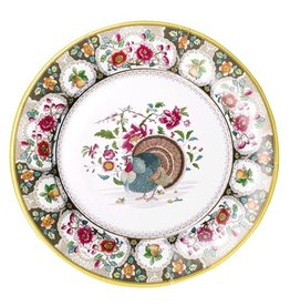 Caspari Thanksgiving Paper Salad-Dessert Plates 8pk Turkey Setting