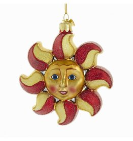 Kurt Adler Nobel Gems Red Gold Sun Ornament 4.25 inch