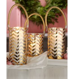 Twos Company Gold Chevron Hurricane Candle Holders Set of 3