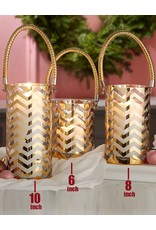 Twos Company Gold Chevron Hurricane Candle Holder 10x4.75 inch