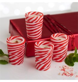 Twos Company Edible Peppermint Twist Candy Cane Shot Glasses Set of 4