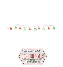 Twos Company Fa La La La La LED String Lights in Gift Box