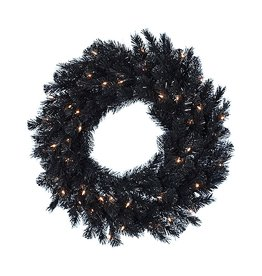 Kurt Adler Black Wreath Pre-Lit w Clear Lights Indoor Outdoor 30 Inch