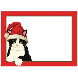Caspari Name Tags Self Adhesive Labels 12pk Cat in Santa Hat
