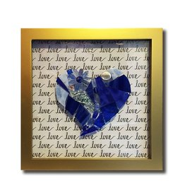 Glistening Glass Mosaics Love Blue Heart Mosaic Shadowbox 8.25sq