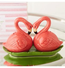 Twos Company Flamingo Party Salt and Pepper Shakers Set