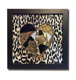 Glistening Glass Mosaics Leopard Heart Mosaic Shadowbox 8.25sq