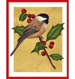 Caspari Boxed Christmas Cards Set of 16 Chickadee Bird And Holly