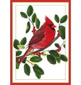 Caspari Boxed Christmas Cards Set of 16 Cardinal on Branch