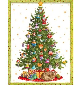 Caspari Boxed Christmas Cards Set of 16 Cat Christmas Tree