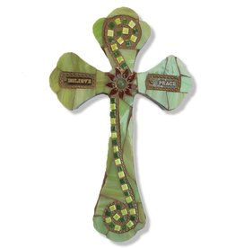 Glistening Glass Mosaics Cross Greens w Believe and Peace 8x5 inch