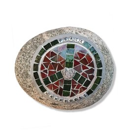 Glistening Glass Mosaics Garden Stone - Peace Love and Happiness 6.5x5