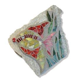 Glistening Glass Mosaics Garden Stone Angel Fish 7x6 inch