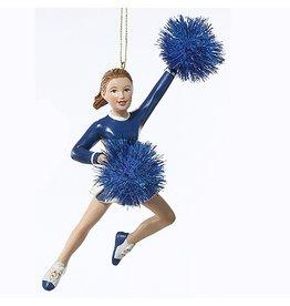 Kurt Adler Cheerleader w Pom Poms Christmas Ornament - Blue