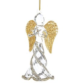 Kurt Adler Glass Angel w Gold Wings Christmas Ornament Holding Star